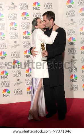 "23JAN2000:  Actress ANGELINA JOLIE & brother at the Golden Globe Awards where she won for Best Supporting Actress in a Movie for ""Girl, Interrupted.""  Jean Cummings/Paul Smith / Featureflash - stock photo"