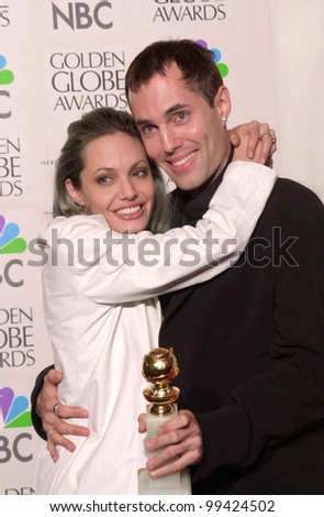 "23JAN2000:  Actress ANGELINA JOLIE & brother JAMES HAVEN  at the Golden Globe Awards where she won for Best Supporting Actress in a Movie for ""Girl, Interrupted.""  Jean Cummings/Paul Smith / Featureflash - stock photo"