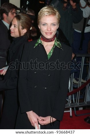 "14JAN97:  Actress CAMERON DIAZ at the premiere of  ""Albino Alligator.""  The film is actor Kevin Spacey's first movie as director and stars Matt Dillon, Faye  Dunaway & Gary Sinise.  Pix: PAUL SMITH - stock photo"