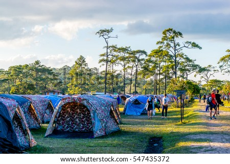 3 JAN 2017 thailand, loei, at Phukradueng national park, people are camping at there for vacation.