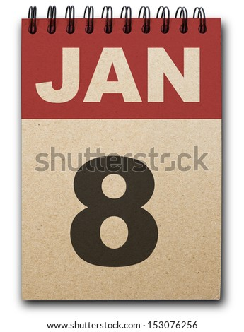 8 January calendar on recycle paper - stock photo