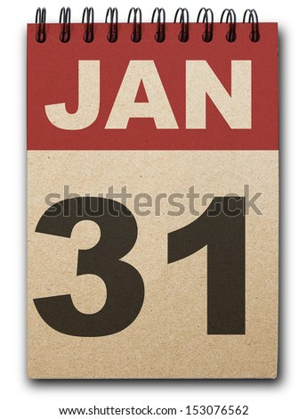 31 January calendar on recycle paper - stock photo