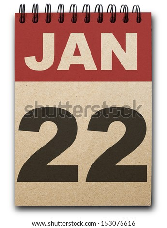 22 January calendar on recycle paper
