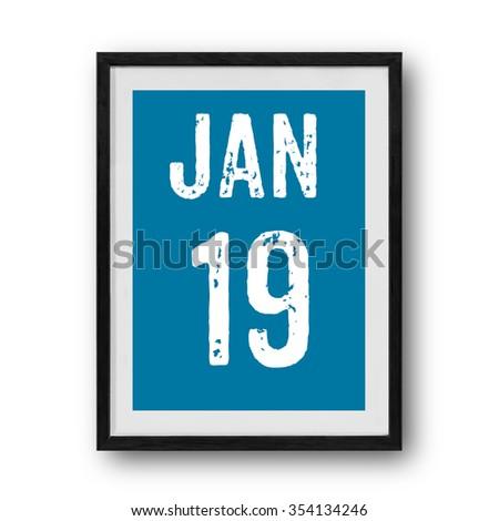 19  January calendar on the photo frame - stock photo