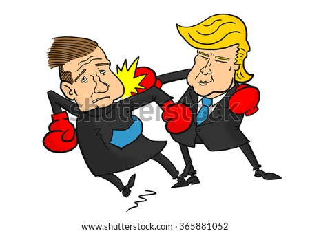 22 January, 2016: Donald Trump beating Ted Cruz  - stock photo