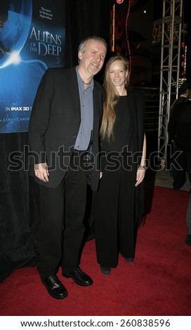 20 January 2005 - Hollywood, California - James Cameron and wife Suzy. World Premiere of 'Aliens of the Deep' at Universal Citywalk Imax Theatre in Hollywood.  - stock photo