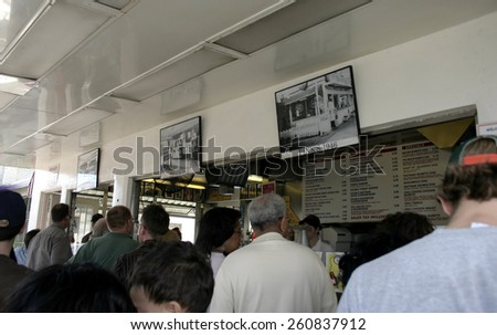 18 January 2005 - Hollywood, California - Pink's Hot Dog Stand at 709 N. La Brea, Hollywood, CA 90038. Pink's is probably the most famous hot dog stand in USA. - stock photo