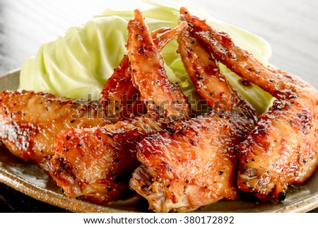 japanese food. chicken wings - stock photo