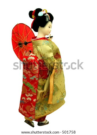 Japanese geisha doll-over white background - stock photo