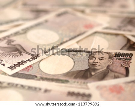 10000 Japanese Yen Note - stock photo