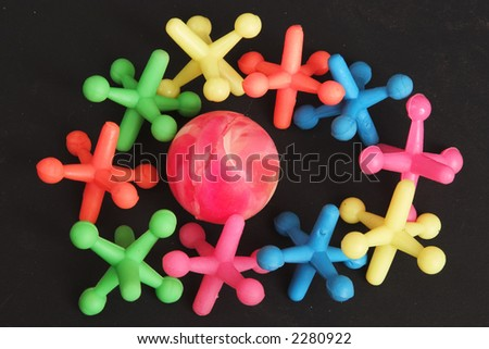 10 Jax and a ball - Colorful Game - stock photo