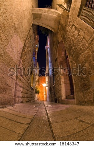 Jerusalem. The Old city. Night. - stock photo