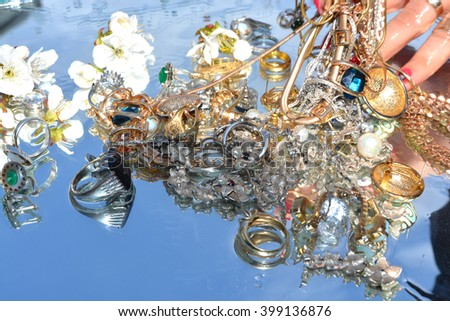 jewellery and hand, reflection