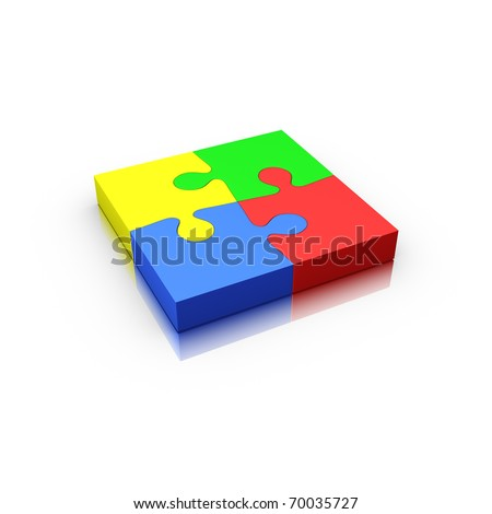 4 jigsaw puzzle pieces complete isolated on white (red yellow green and blue) - stock photo