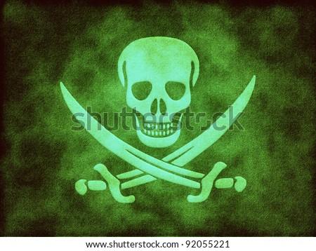 Jolly Roger skull - stock photo