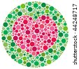 (Jpg) Heart shape made of circles, inspired by colour blind tests. (A vector eps10 version is also available) - stock vector