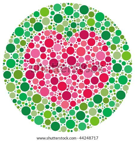 (Jpg) Heart shape made of circles, inspired by colour blind tests. (A vector eps10 version is also available) - stock photo