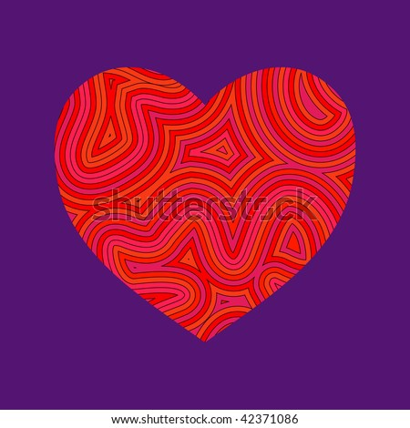 (Jpg) Psychedelic heart. Be my Groovy Valentine!! A vector version is also available. - stock photo