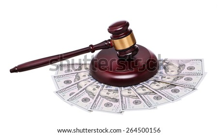 judge gavel and cash money isolated on white background.