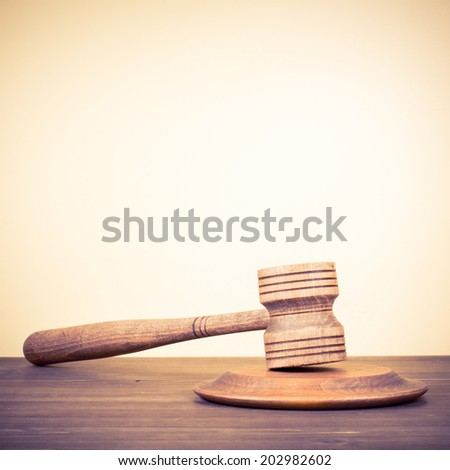 Judge gavel on wooden table. Symbol of justice - stock photo
