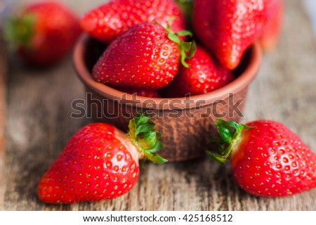 juicy fresh ripe red strawberries. fresh  strawberries - stock photo