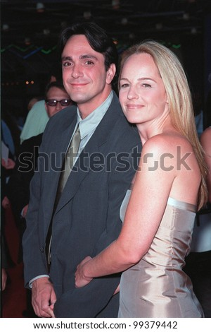 "22JUL99: Actor HANK AZARIA actress wife HELEN HUNT at the world premiere of his new movie ""Mystery Men"" at Universal City, Hollywood.  The couple married last week.  Paul Smith / Featureflash"