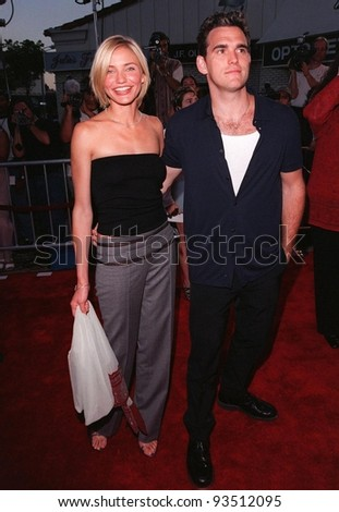"""09JUL98:  Actress CAMERON DIAZ & boyfriend & co-star MATT DILLON at the world premiere, in Los Angeles, of their new movie """"There's Something About Mary."""" - stock photo"""