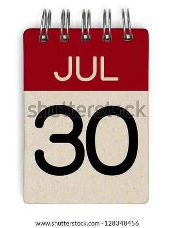 30 july calendar - stock photo