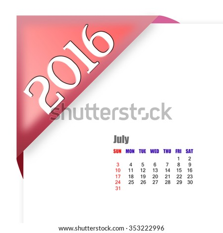 2016 July calendar - stock photo