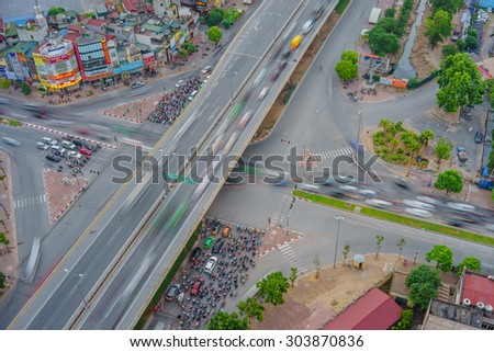 09 July 2015 in Hanoi Vietnam, aerial view of an intersection street at night