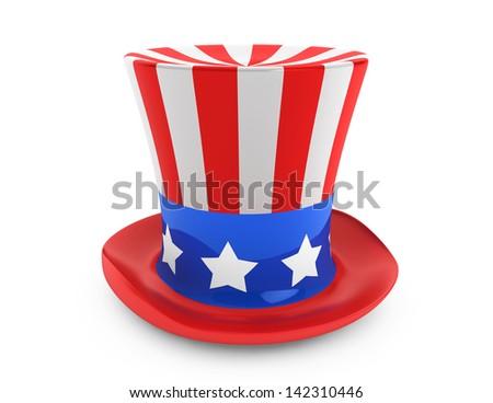 4 July Independence Day celebration hat on a white background - stock photo