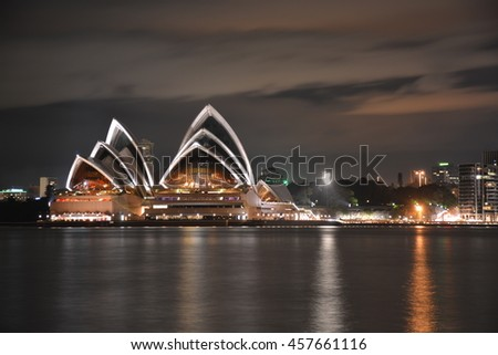 9 JULY 2016: Night time long exposure of the Sydney Opera House, distinctive night time picture of one of the most famous landmarks of the world
