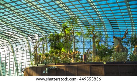 21 July, 2014 Singapore. Flower Dome - Greenhouse in the park Gardens by the Bay.