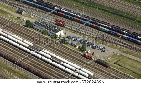 5 June 2015, Zwijndrecht, Netherlands. Aerial view of marshalling train station Kijfhoek, the largest train freight station of Holland
