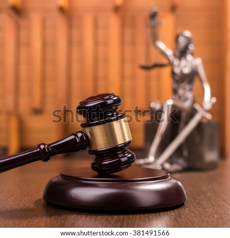 justice and Wooden gavel, law concept - stock photo