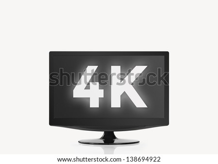 4K HD Television - Unbranded on white Background with Clipping Path - stock photo