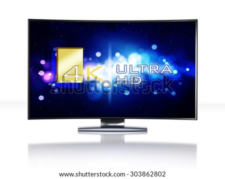 4K Ultra HD television isolated on white background
