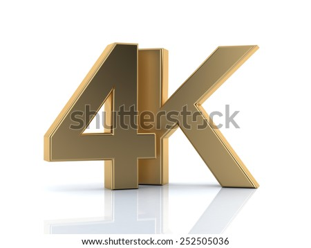 4K ultra high definition television technology golden logo icon isolated on white background - stock photo