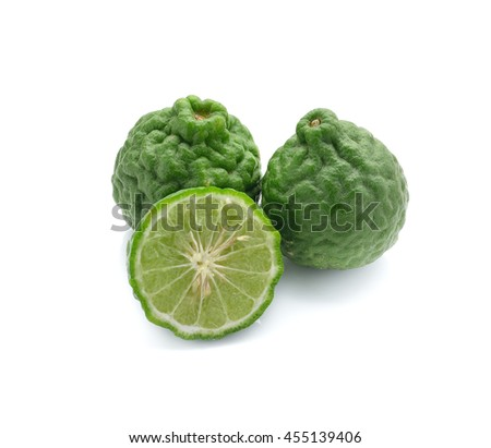 Kaffir lime isolated on a white background - stock photo