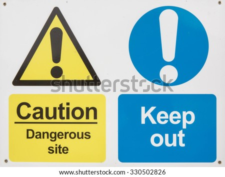 """Keep out dangerous construction site"" danger sign - stock photo"