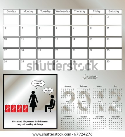 2012 Kevin series calendar for the month of June