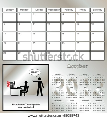 2012 Kevin series calendar for the month of October