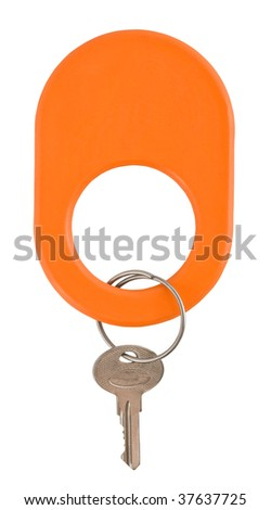 key with  tag isolated on white, with clipping patch - stock photo