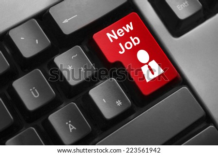 keyboard red enter button new job - stock photo