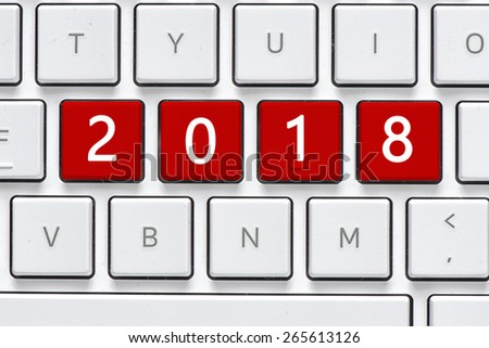 Keyboard with 2018 button. Computer white keyboard with 2018 button - stock photo