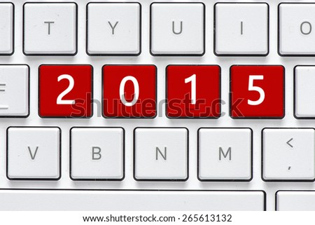 Keyboard with 2015 button. Computer white keyboard with 2015 button - stock photo