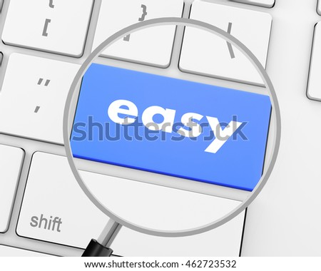 keyboard with easy button, 3d rendering