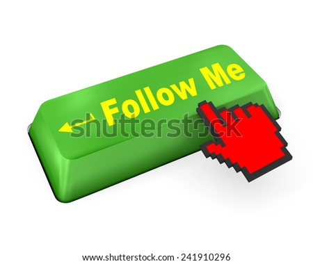 keyboard with  Follow Me button like,social media - stock photo