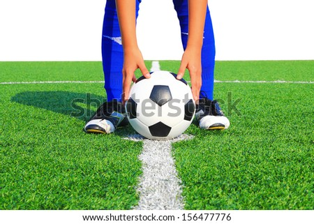 kicking the ball in the game - stock photo