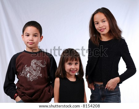3 kids ethnically diverse - stock photo